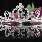 Elegance 15 Birthday Tiara;Silver Crystal Occasion Tiara;Fancy Fashion Hair accessories#1025