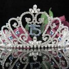 Elegance 15 Birthday Tiara;Crystal Occasion Tiara;Fancy Fashion Hair accessories#1010