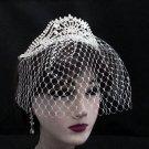 Bridal Veil ;Crystal Silver Pearl Bride Headband;Bridesmaid Tiara;Opera Hair accessories #6868