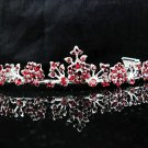 Bridesmaid Tiara;Bridal Veil ;Opera Hair accessories ;Silver Red Floral Bride Headpiece#584r