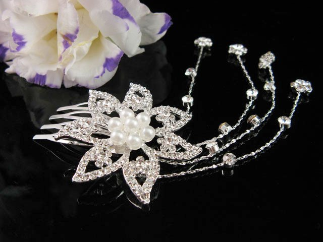 Bridesmaid Hair accessories ;Opera Tiara;Bridal Comb; Silver Teen Girl Comb ;Bride Tiara#707s