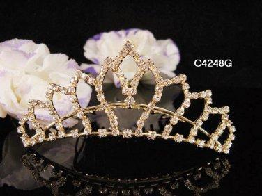 Bridesmaid Hair accessories ;Opera Tiara;Bridal Comb;Golden Teen Girl Comb ;Bride Tiara#4248g