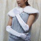 Occasion Elbow Gloves; Fashion Accessories;Satin white Bridal Gloves;Wedding Bride Accessories#82w