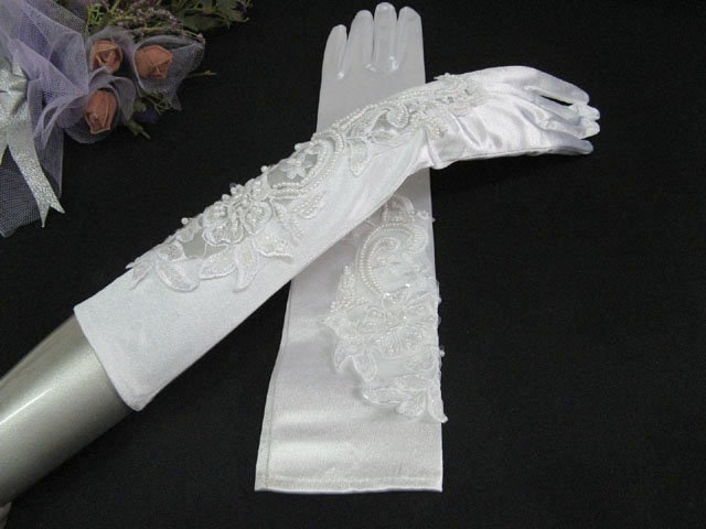 Elbow Gloves; Fashion Accessories;Satin Pattern White Bridal Gloves;Wedding Bride Accessories#31