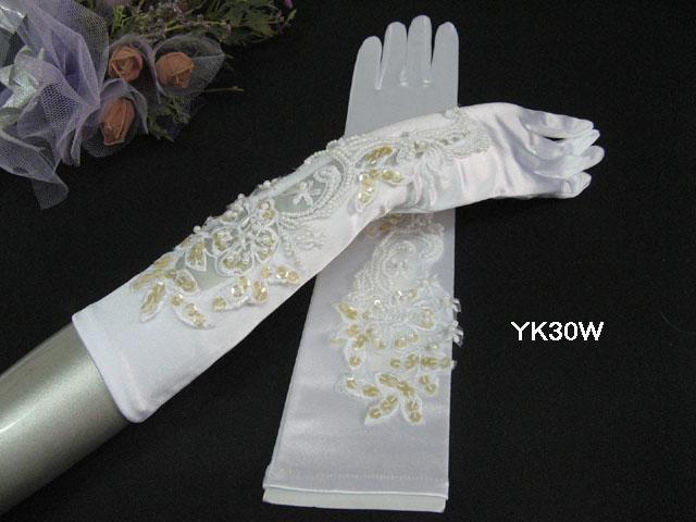 Elbow Gloves; Fashion Accessories;Satin Pattern White Bridal Gloves;Wedding Bride Accessories#30