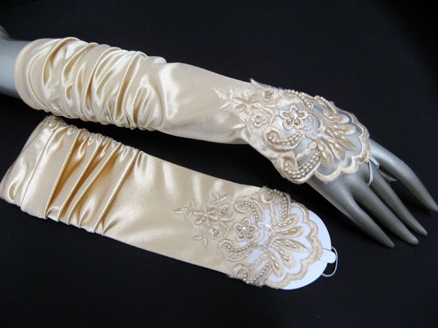 Finger-less Gloves; Fashion Accessories;satin ivory lace Bridal Gloves;Wedding Bride Accessories#14i