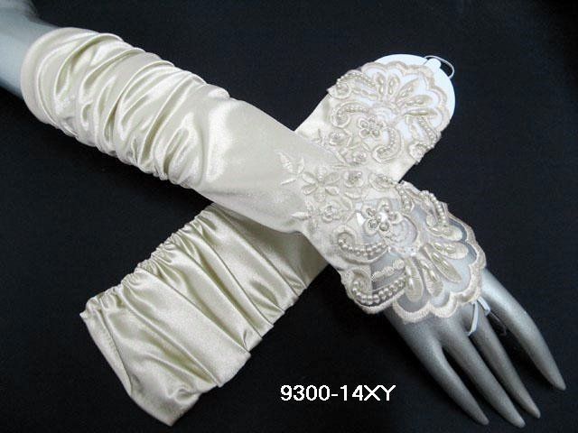 Finger-less Gloves; Fashion Accessories;satin ivory lace Bridal Gloves;Wedding Bride Accessories#14