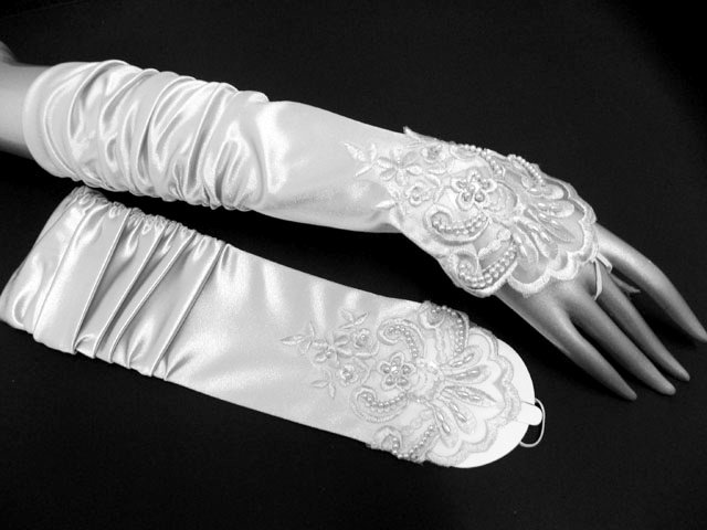 Finger-less Gloves; Fashion Accessories;satin ivory lace Bridal Gloves;Wedding Bride Accessories#14w