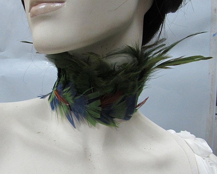Dramatic Feather Choker;Fluffy Necklace;Feather collar ;Bridal or dancer occasion accessories#5