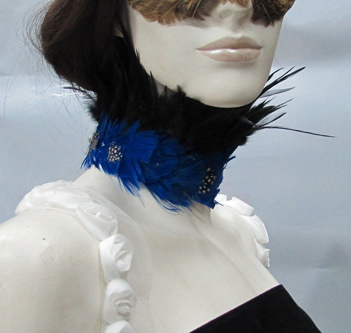 Handmade Feather Choker;Fluffy Feather Necklace;Feather collar;dancer occasion accessories#14
