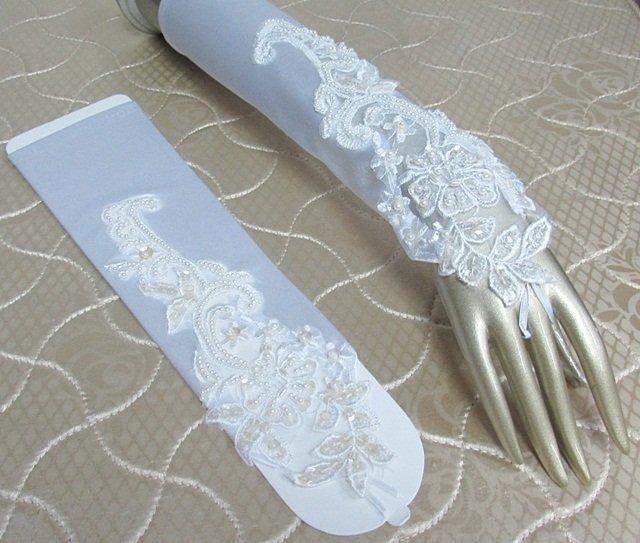 Elbow Gloves; Fashion Accessories;Floral lace satin Bridal Gloves;Wedding Bride Accessories#44w