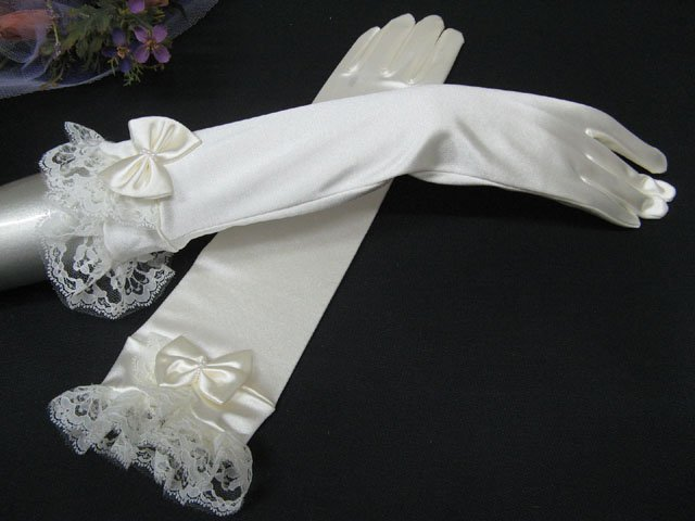 Long Elbow Gloves; Floral lace satin bridal Gloves;Wedding Glove; Bridesmaid Accessories#27i