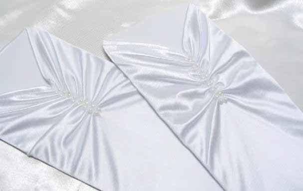 Finger-less white Gloves;Pearl Satin bridal Gloves;Wedding Glove; Bridesmaid Accessories#5w