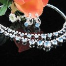 Fancy Blue Wedding Choker set ;Bridal Tiara;Bridesmaid accessories;Bride Necklace set#3205b