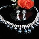 Chevron Blue Wedding Choker set ;Bridal Tiara;Bridesmaid accessories;Bride Necklace set#4378b
