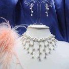 Dangle Pearl Wedding clip Choker set ;Bridal Tiara;Bridesmaid accessories;Bride Necklace set#050