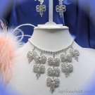 Dangle Butterfly Wedding Choker set ;Bridal Tiara;Bridesmaid accessories;Pin Bride Necklace set#116