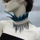 Handmade Beaded Turkey Feather Choker;Fashion Necklace;Wedding Accessories#f13