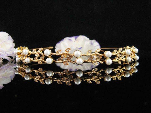 Opera Tiara;Bridesmaid Hair accessories;Bridal Comb;Golden Vine Wedding Headband;Teen Girl Comb#533g