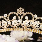 Fancy Pearl Daisy Wedding Headpiece ;Crystal Bride Regal Tiara;Party Occasion Hair accessories#790g