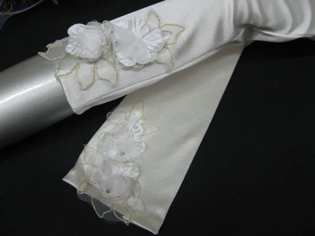 "14""satin ivory bridal gloves, Lace pearl wedding gloves;floral bridesmaid bride accessories #52i"