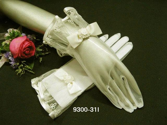 "10"" cute ivory bridal gloves;short organza wedding gloves;opera;dancer Accessories #31i"