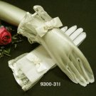 "10"" cute ivory bridal gloves;short organza wedding gloves;opera;dancer Accessories #31i"