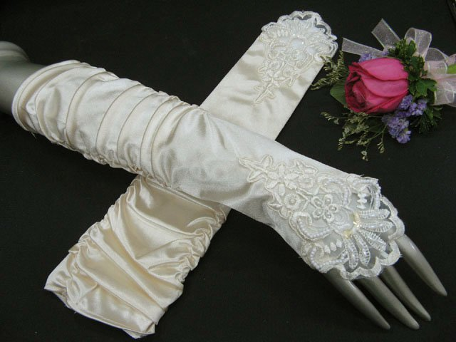 Elbow french Lace Pearl ivory bridal gloves;finger-less wedding gloves;opera Accessories #64i