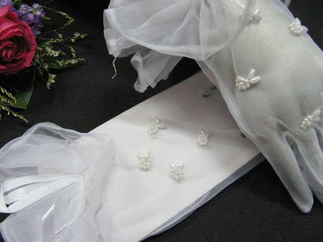 white wrist bridal gloves;Pearl organza wedding gloves;opera;dancer Accessories #25w