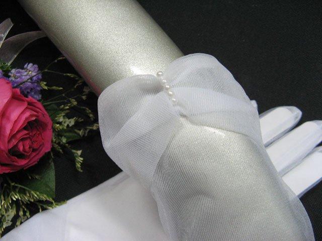 white wrist bridal gloves;Pearl organza wedding gloves;opera;dancer Accessories #27w