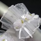 fancy white wrist bridal gloves;floral organza wedding gloves;opera;dancer Accessories #76w