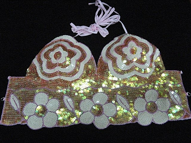 Handmade Sexy sequin Beaded Halter; floral hippie top; fashionable beaded dancing party belly top#or