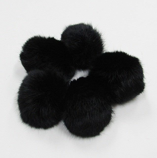 5 piece Handmade Dyed black Color Rabbit fur boa ; fluffy Thick Feather boa #FB16
