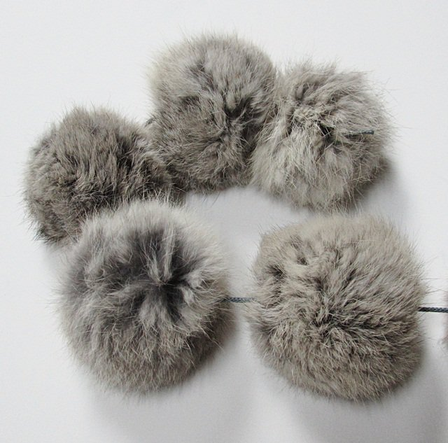 10 piece Handmade Dyed grey Color Rabbit fur boa ; fluffy Thick Feather boa #FB13