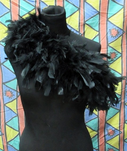70g Feather Fringe Shawl;Coque Rooster fluffy stole; thick Marabou feather boa wrap#12bk