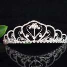 Bride tiara; sparkle crystal wedding bridesmaid accessories silver metal rhinestone headpiece #171s