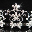 Bride tiara; sparkle crystal wedding bridesmaid accessories silver metal rhinestone headpiece #719s