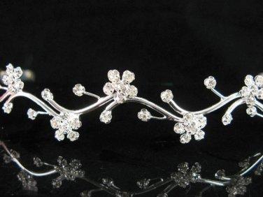 Bride tiara; sparkle crystal wedding bridesmaid accessories silver metal rhinestone headpiece #241s