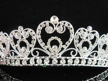 Bride tiara; sparkle crystal wedding bridesmaid accessories silver metal rhinestone headpiece #8477s