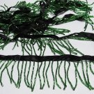"Handmade 38"" short green all glass beaded fringe ;opera dancer parts ;garment accessories#24gr"