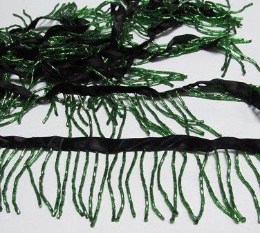 "Handmade 38"" short green all glass beaded fringe ;opera dancer parts ;garment accessories#24gr"