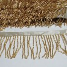 "43"" Handmade golden short all glass beaded fringe ;opera dancer parts ;garment accessories#26g"