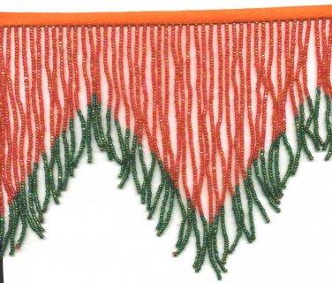 "Handmade 38"" Long scallop pattern glass beaded fringe ;opera dancer parts ;garment accessories#87"