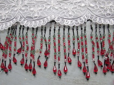 "Handmade 38"" Long scallop pattern glass beaded fringe ;opera dancer parts ;garment accessories#39"