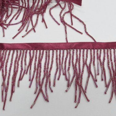 "Handmade 76""scallop bugle & glass beaded fringe ;opera dancer parts ;garment accessories#91bu"