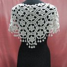 Handmade cute ivory floral lace knitted top; party occasion blouse; woman accessories#3