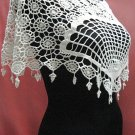 Handmade cute ivory floral lace knitted top; party occasion blouse; woman accessories#1