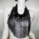 Handmade feather black beaded collar;party occasion Halloween vest ; woman accessories;#8