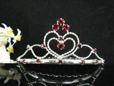 Handmade sweetheart Bridal silver red crystal comb veil,wedding tiara headpiece accessories #1327R