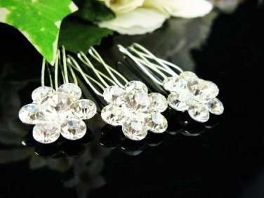 3 pcs Handmade Bridal silver crystal comb ;wedding tiara;bride headpiece ;opera accessories #6418s